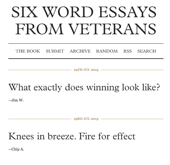 Screenshot from SixWordWar.com