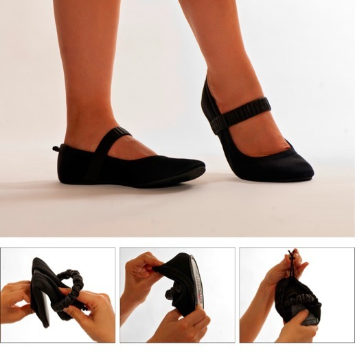 Folding is easy as 1, 2, 3!  1. Simply fold sole-to-sole 2. Flip the heel's upper over 3. Pull draw cord to compress the shoe in the self-contained state.