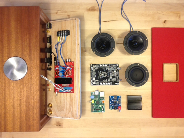 An exploded view of the Prototype's internal hardware. Once funded most of this will be replaced with Tubecore's Custom Hybrid Tube Amplifier