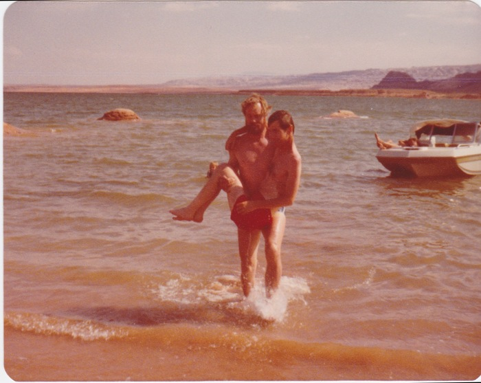 Mark and his brother swimming in 1977.