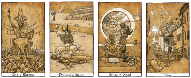 "Our original demon tarot card set, as seen in the short film ""Fire City: King of Miseries,"" artwork by Kurt Komoda"