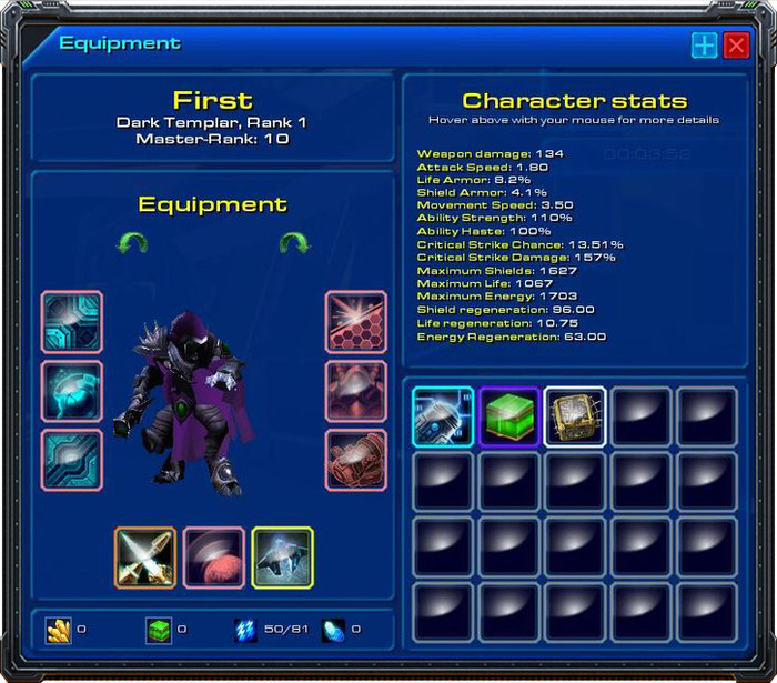 The character equipment screen.