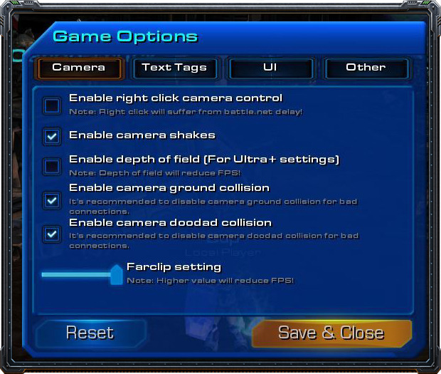 The game options menu.