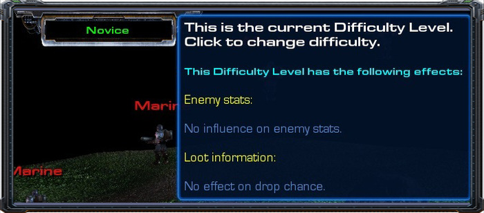 Difficulty-Level information within the game.