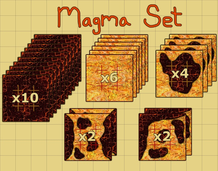 10 Cooled Magma, 6 Lava, 4 Island, 4 Transitional
