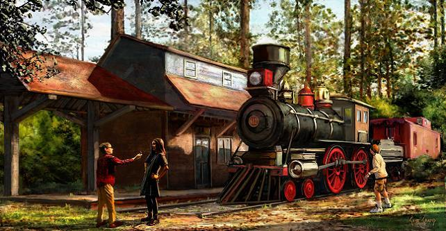 """Jesse Discovers the Train Engine"" by Cliff Cramp"