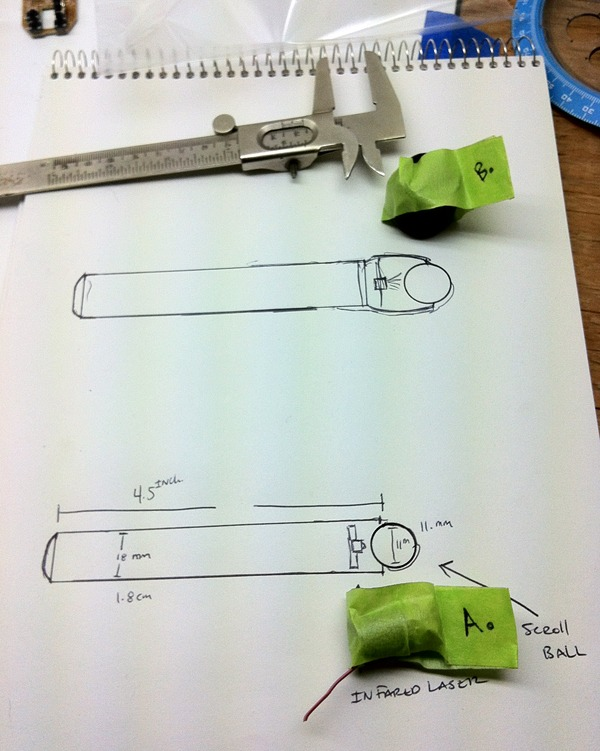 First sketches and prototype parts.