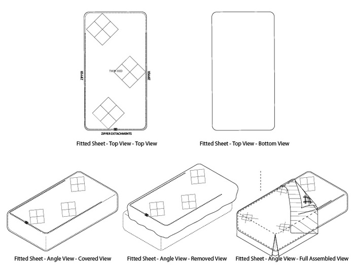 Technical Drawings for the Padded Fitted Sheet