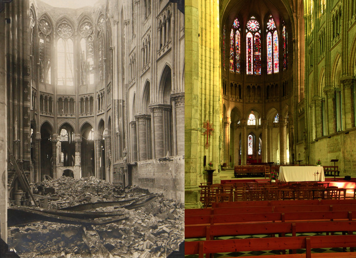 Saint Quentin Cathedral, August 1917 (Walter Koessler) - October 2012 (Dean Putney)
