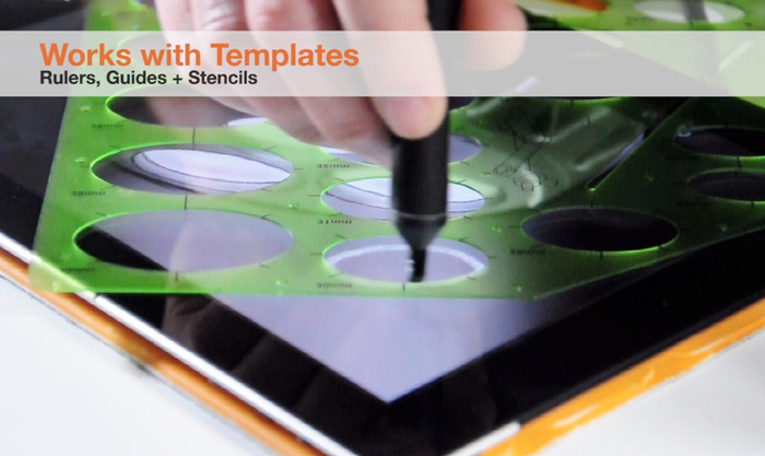Nota Ultrafine Stylus can draw against a ruler or plastic template - Functional Prototype Shown