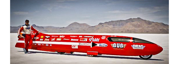 "World record-breaking motorcycle, ""BUB Seven"", built by founder of the BUB Motorcycle Speed Trials, Denis Manning. Driver Chris Carr shown above with the streamliner."