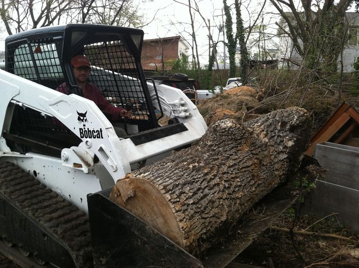 Tm  Adkins, co-owner and tree expert, working our 72 HP Skid Steer, Big Alice