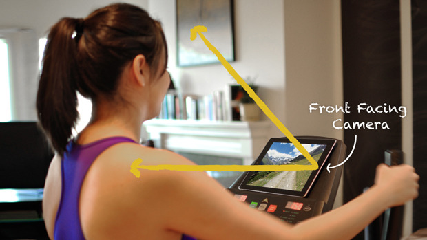 BitGym measures your exercise speed by simply using the front-facing camera on your tablet or phone. It's sort of like a Kinect which brings visual adventures to your exercise machine.