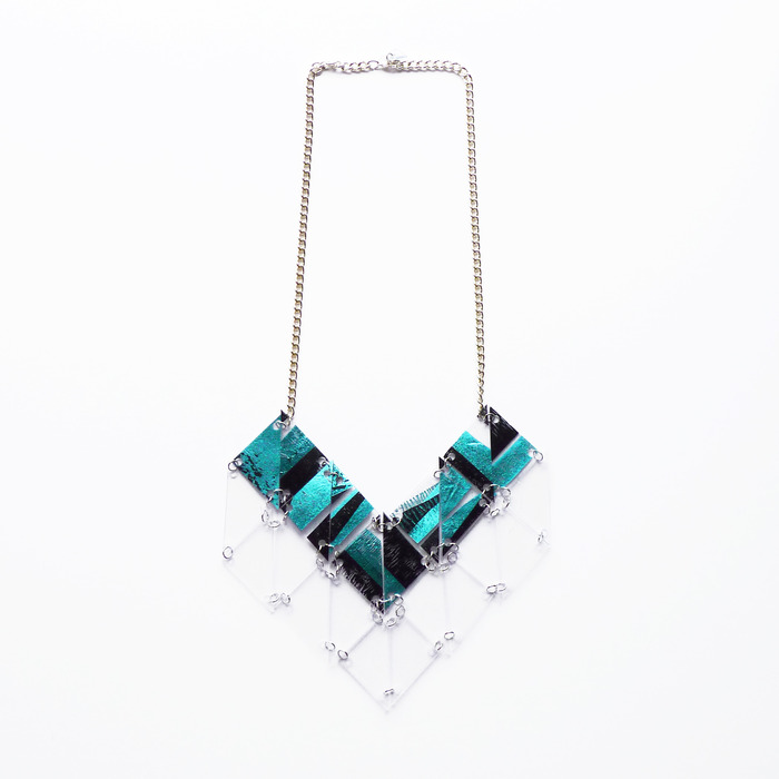 AW13 Blue foil stripe chain necklace