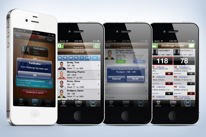 FanDrafter Screenshots(Dec. '12): Challenge A Friend, Draft Your Team, Play A Game. Instant, Mobile, Fantasy Sports!