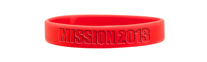 Mission 2013 red silicone bracelet