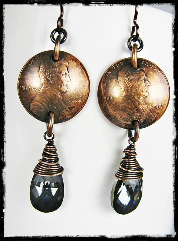 Reward for $20 pledge level-Beautiful Wire Wrapped Tear Drop Bead & Penny Earrings From Geisha Creations