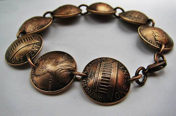 Reward for $50 pledge level- Domed Copper Lucky Penny Bracelet From Geisha Creations