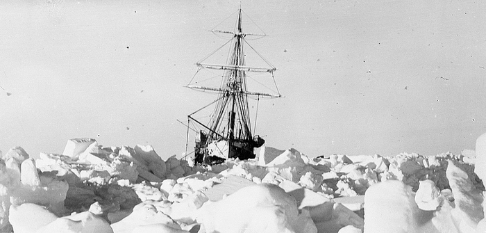 Shackleton's ship Endurance trapped in Antarctic ice (courtesy National Maritime Museum, Greenwich, London)