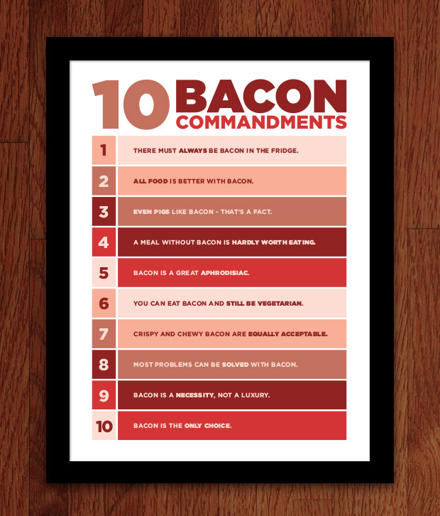 10 Bacon Commandments Poster -- add to any pledge for $18 ($26 int'l)