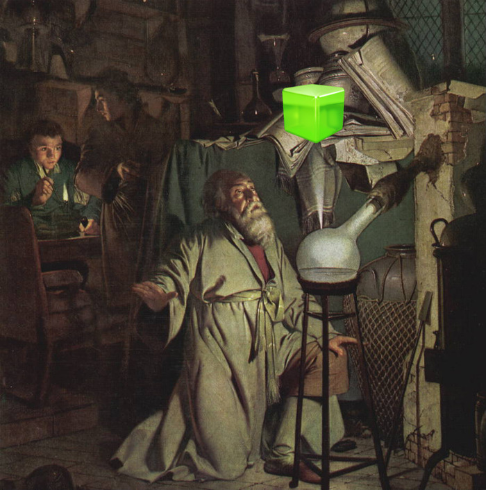 "Image taken from the 1542 painting ""Ye Cube Of Successe"", depicting Chief Alchemist Robert Iachini's creation of the first Success Cube."