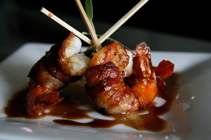 Bacon Wrapped Shrimp with Balsamic Glaze