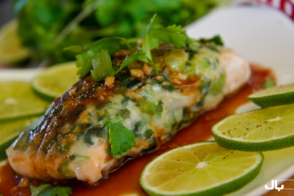 Salmon Wrapped in Rice Paper with Hoisin Lime Sauce