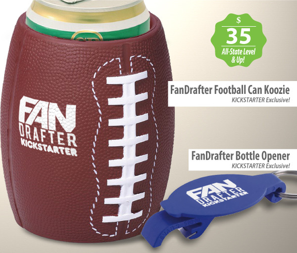 FanDrafter Football Can Holder & Bottle Opener Included On All Higher Levels!