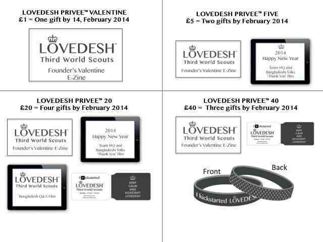 Above. Lovedesh™ Designer Gift Bundles at £1, £5, £20 and £40