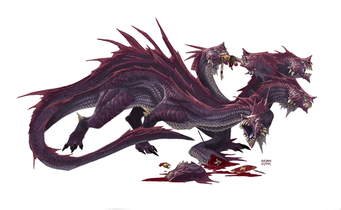 "The Lernaen Hydra from the Creature Feature listed below! The PDF includes background, stats, and adventure ideas for both the Lernaen Hydra faced by Hercules, and a more ""swords and sorcery"" version that won't actually kill your entire party. ;)"