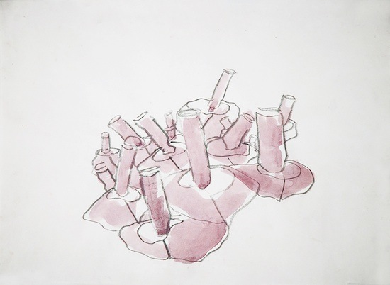 Limited Edition Print. Debbie Long. Purple Bullet City. 2004. Watercolor and Graphite on Paper.