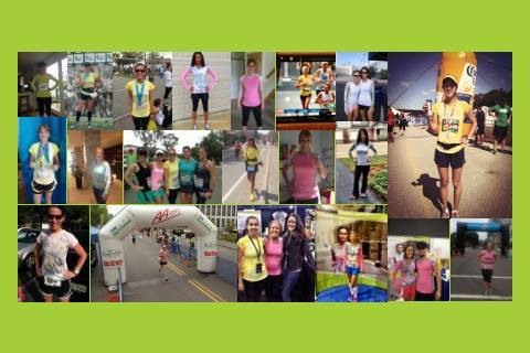 A collage of women runners wearing Swirlgear from around the country.