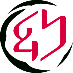 Genshin logo with wet-feather black border and Japanese crimson center