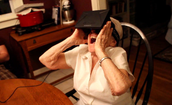 Here's an older lady enjoying the Oculus Rift