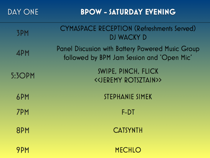 BPOW Day One: Saturday Evening Schedule