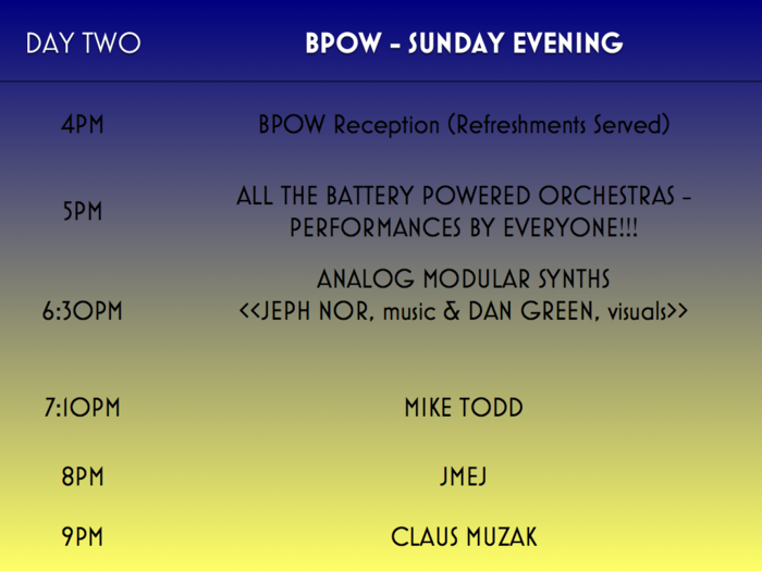 BPOW Day Two: Sunday Evening Schedule