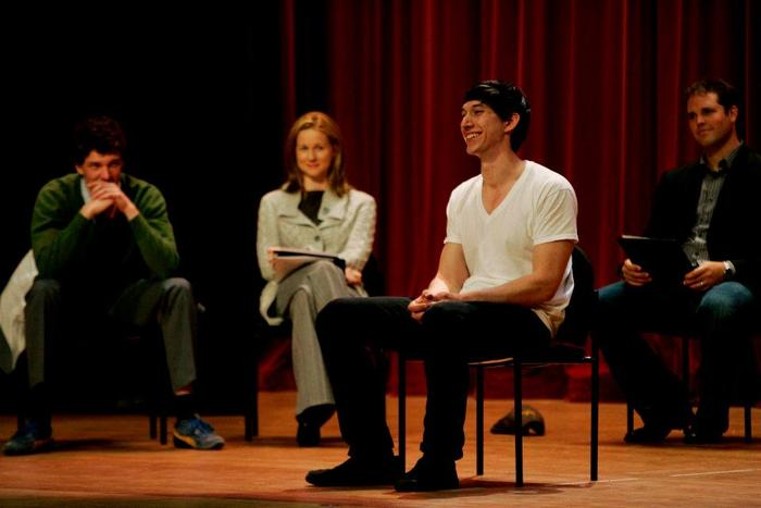 Co-founder Adam Driver and the cast at Camp Pendleton (Photo by Sandy Huffaker for The New York Times)