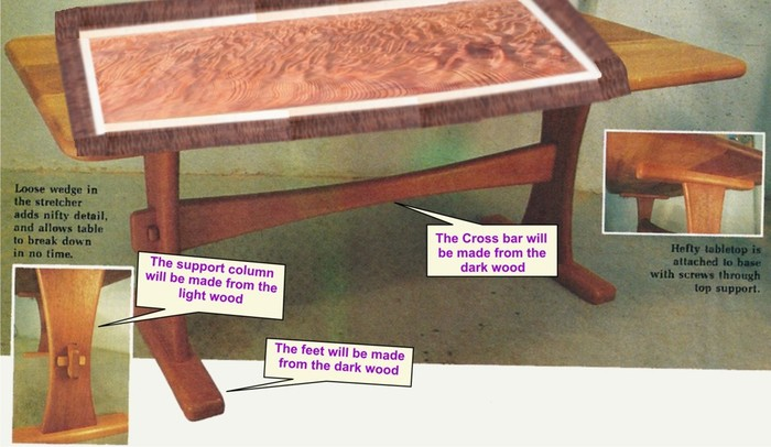 A rough rendition of what the coffee table will look like.