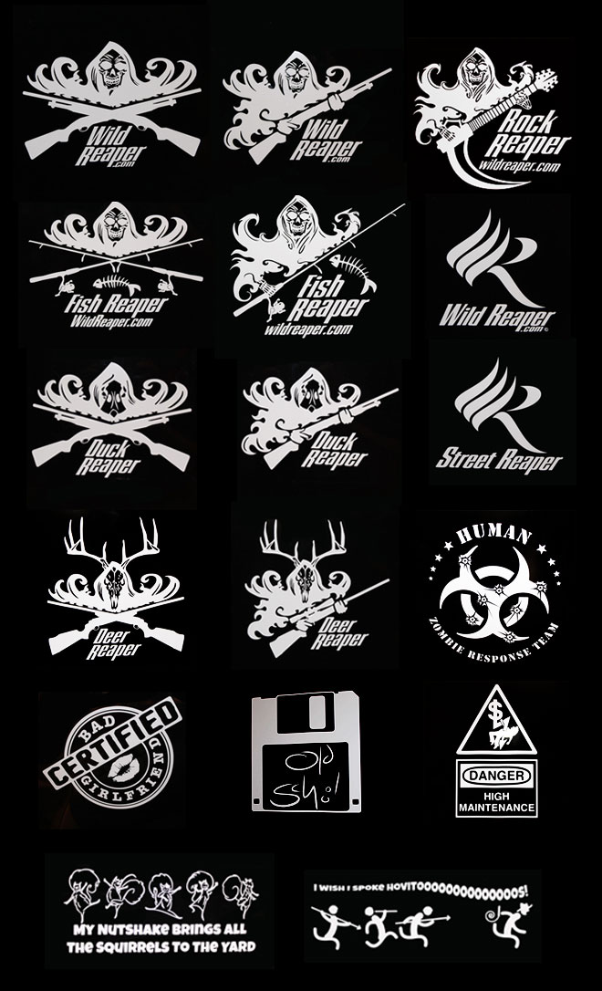 Decal (from upper left): Wild-X, Wild-S, Rock Reaper, Fish-X, Fish-S, Wild Logo, Duck-X, Duck-S, Street Reaper, Deer-X, Deer-S, Human, Bad Girlfriend, Old School, High Maintenance, Nutshake, Hovitos