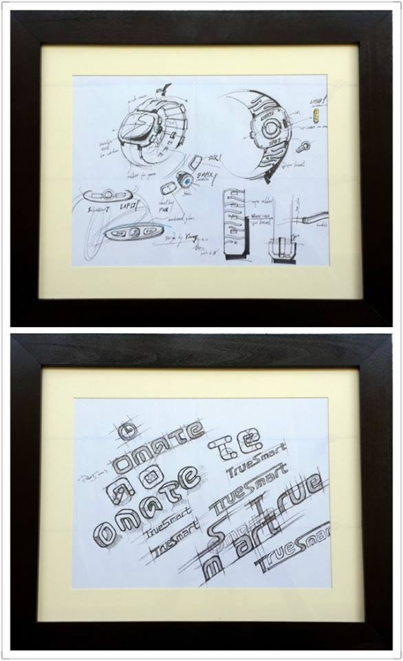 Original sketches of Omate and the birth of the Omate logo, now hangs in our office