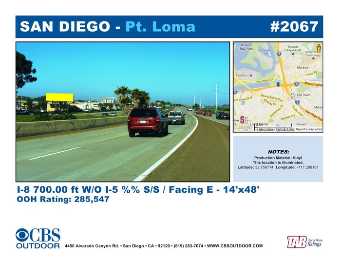 Desired Billboard location in San Diego at the merge of the I-5 and I-8 freeways..