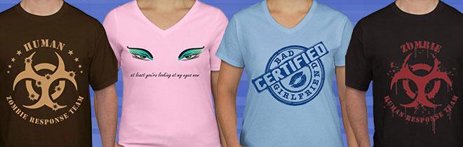 T-Shirt Names (L to R):  Human, Eyes, Bad Girlfriend, Zombie