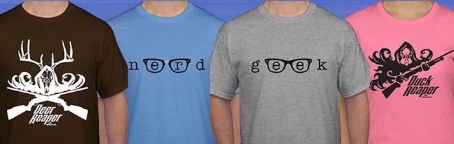 T-Shirt Names (L to R): Deer Reaper, Nerd, Geek, Duck Reaper