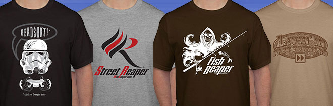 T-Shirt Names (L to R): Headshot*, Street Reaper, Fish Reaper, Livin' in Fast Forward