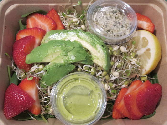 Fresh Summer Strawberry & Sprouted Mung Bean Salad to-go