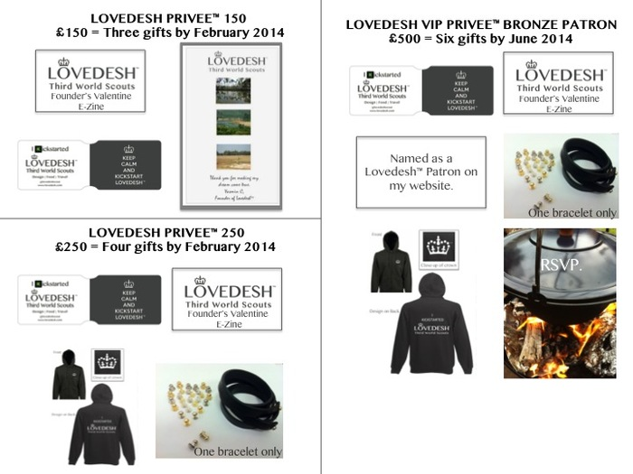Above. Lovedesh™ Designer Gift Bundles at £150, £250 and £500