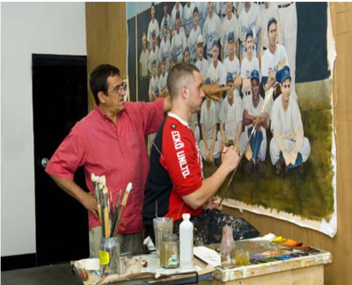 Jorge Alvarez and I painting a mural for the Brooklyn Diner, 2005