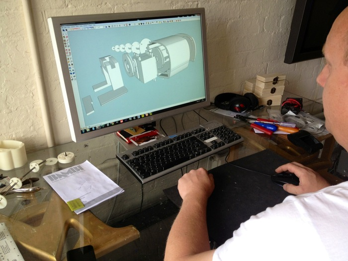 Neil works on the 3d parts ready for printing. All the STL files are ready for production.