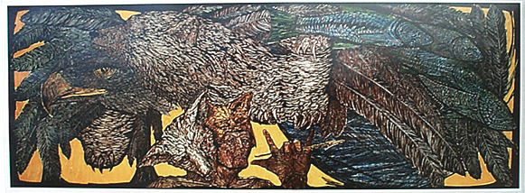 "$6,500 Pledge: Shamans Vision Colored Woodcut, 1982 29"" x 78"", Edition 50. $6,500"