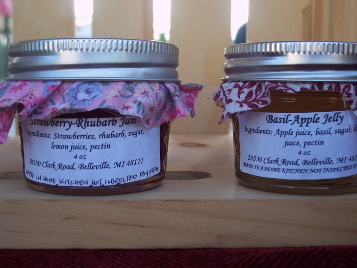 Strawberry Rhubarb jam and Basil Apple jelly